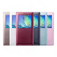 billige -Etui Til Samsung Galaxy Samsung Galaxy Etui med vindu Flipp Heldekkende etui Helfarge PU Leather til A8 A7 A5 A3