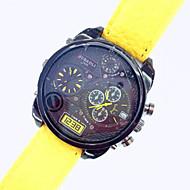 お買い得  -JUBAOLI 男性用 女性用 男女兼用 軍用腕時計 クォーツ 2タイムゾーン PU バンド ハンズ 黄色 - イエロー