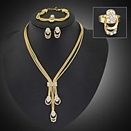 cheap Jewelry Sets-Women's Cubic Zirconia / Gold Plated / Imitation Diamond Cute Jewelry Set Bracelet / Earrings / Necklace - Tassel / Party / Long Jewelry