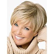 abordables Pelucas-Pelo sintético pelucas Corte Recto Parte lateral Corte Pixie Con flequillo Sin Tapa Peluca natural Corta Rubio