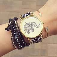 voordelige Bohémien horloges-Dames Kwarts Armbandhorloge Met de Hand Gemaakt Vrijetijdshorloge Stof Band Bloem Bohémien Modieus Zwart