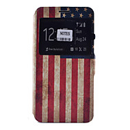 Для Samsung Galaxy Note Бумажник для карт / со стендом / с окошком / Флип / С узором Кейс для Чехол Кейс для Флаг МягкийИскусственная