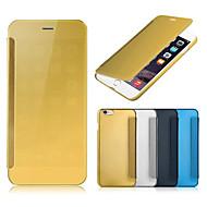Недорогие Кейсы для iPhone 8 Plus-Кейс для Назначение Apple iPhone 8 Plus iPhone 6 iPhone 6 Plus Покрытие Зеркальная поверхность Флип Чехол Сплошной цвет Твердый Кожа PU