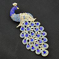 hesapli Mücevher&Saatler-Kadın's Broşlar - Altın Kaplama Tavuskuşu Vintage, Moda Broş Navy Mavi Uyumluluk Parti / Özel Anlar