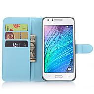 Varten Samsung Galaxy kotelo Korttikotelo / Lomapkko / Tuella / Flip Etui Kokonaan peittävä Etui Yksivärinen Tekonahka SamsungJ7 / J5 /