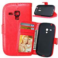 お買い得  携帯電話ケース-ケース 用途 Samsung Galaxy Samsung Galaxy ケース ウォレット / カードホルダー / スタンド付き フルボディーケース ソリッド PUレザー のために S5 Mini / S4 Mini / S4