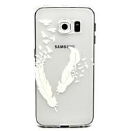 Недорогие Чехлы и кейсы для Galaxy S6 Edge Plus-Кейс для Назначение SSamsung Galaxy Кейс для  Samsung Galaxy Прозрачный Кейс на заднюю панель  Перья ТПУ для S6 edge plus / S6 edge / S6