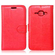 Недорогие Чехлы и кейсы для Galaxy J1-Кейс для Назначение SSamsung Galaxy Кейс для  Samsung Galaxy Кошелек / Бумажник для карт / со стендом Чехол Однотонный Кожа PU для J7 / J5 / J1