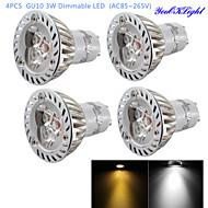 3W GU10 LED-kohdevalaisimet R63 3 Teho-LED 200 lm Lämmin valkoinen / Kylmä valkoinen Himmennettävä / Koristeltu AC 85-265 V 4 kpl