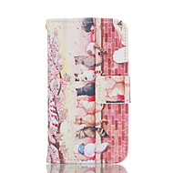 Для Кейс для  Samsung Galaxy Бумажник для карт / Кошелек / со стендом / Флип Кейс для Чехол Кейс для Кот Мягкий Искусственная кожа Samsung