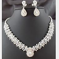 여성 보석 세트 패션 의상 보석 모조 다이아몬드 드롭 귀걸이 목걸이 제품 파티 특별한 때 생일 결혼 선물