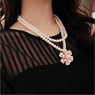 Женский Пряди Ожерелья Слоистые ожерелья Жемчужные ожерелья Жемчуг Искусственный жемчуг Сплав Белый Черный БижутерияСвадьба Для вечеринок