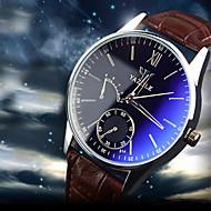 Недорогие Фирменные часы-YAZOLE Муж. Наручные часы Кварцевый 30 m Защита от влаги Секундомер Кожа Группа Аналоговый Кулоны Черный / Коричневый - Коричневый Черный / Белый Коричневый / Белый Один год Срок службы батареи