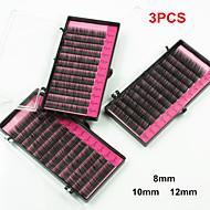 3 Sizes Black Natural False Eyelashes Extensions Kit Individual Lash Fake EyeLash Planting Grafting Eyelashes