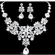 여성용 보석 세트 귀걸이 비브장식 목걸이 패션 더블 레이어 스테이트먼트 쥬얼리 의상 보석 모조 다이아몬드 드롭 귀걸이 목걸이 제품 파티 특별한 때 생일 약혼 결혼 선물