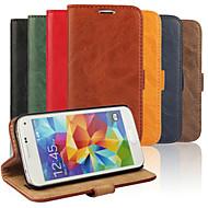 Недорогие Чехлы и кейсы для Galaxy S-Кейс для Назначение SSamsung Galaxy Кейс для  Samsung Galaxy Бумажник для карт со стендом Флип Чехол Сплошной цвет Кожа PU для S5 Mini S4