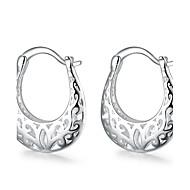 preiswerte -Damen Blume versilbert Ohrstecker Kreolen - Grabado Europäisch Silber Ohrringe Für Hochzeit Party Alltag