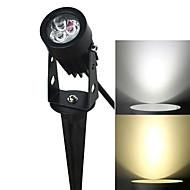 jiawen 3W 3-LED-ekkel gyep lámpa fehér / meleg fehér fény 270lm 6500K / 3200K - fekete (AC 85 ~ 265V)