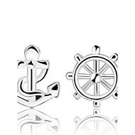 お買い得  -女性用 スタッドピアス - 純銀製, シルバー 錨 シルバー 用途 結婚式 / パーティー / 日常