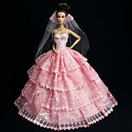 저렴한 -웨딩 드레스 에 대한 Barbiedoll 레이스 / Organza 드레스 에 대한 여자의 인형 장난감