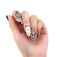 1pcs  Gaya Baru Ikatan Simpul Mahkota Kristal Jari Nail Art Cincin Untuk Wanita, Elegan Perak Cincin Emas