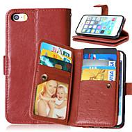 Недорогие Кейсы для iPhone-Кейс для Назначение Apple iPhone X iPhone 8 Plus Кейс для iPhone 5 Бумажник для карт Кошелек со стендом Флип Магнитный Чехол Сплошной цвет
