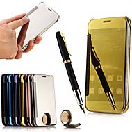 お買い得  携帯電話ケース-ケース 用途 Huawei Huaweiケース ミラー フリップ フルボディーケース 純色 ハード アクリル のために Huawei