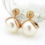 Κουμπωτά Σκουλαρίκια Μαργαριτάρι Κράμα Διπλής όψης Κοσμήματα Γάμου Πάρτι Causal 2pcs