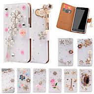 Недорогие Чехлы и кейсы для Galaxy Note-Кейс для Назначение SSamsung Galaxy Samsung Galaxy Note Бумажник для карт Стразы со стендом Флип Чехол Сияние и блеск Кожа PU для Note 5