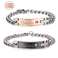 Valentine's Day Gifts Personalized Jewelry Lovers Titanium Steel Gold / Black Bracelets(One Pair)