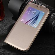 Для Кейс для  Samsung Galaxy с окошком / Флип Кейс для Чехол Кейс для Один цвет Искусственная кожа Samsung S6