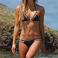 abordables -Femme Licou Bleu Triangle Slip Brésilien Bikinis Maillots de Bain - Couleur Pleine S M L Bleu / Sans Armature / Soutien-gorge Sans Rembourrage / Sexy