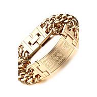 hesapli Mücevher&Saatler-Erkek Zincir & Halka Bileklikler Paslanmaz Çelik Altın Kaplama Mücevher Parti Günlük Spor Kostüm takısı