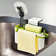 abordables Organización de encimera y pared-cocina cepillo esponja fregadero drenaje drenaje titular con ventosa