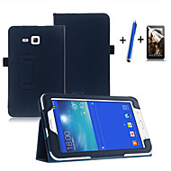 Недорогие Чехлы и кейсы для Samsung Tab-Для со стендом / С функцией автовывода из режима сна / Флип Кейс для Чехол Кейс для Один цвет Твердый Искусственная кожа SamsungTab 3
