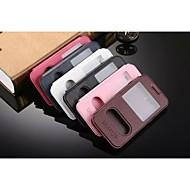 Для Кейс для  Samsung Galaxy со стендом / с окошком / Флип Кейс для Чехол Кейс для Один цвет Искусственная кожа Samsung J5 / J3