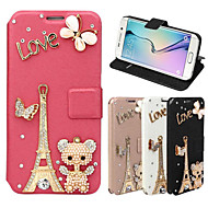 Case For Samsung Galaxy Samsung Galaxy Case Card Holder / Rhinestone / with Stand Full Body Cases Eiffel Tower PU Leather for A8 / A7 / A5