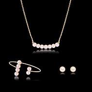 여성 보석 세트 패션 의상 보석 펄 모조 다이아몬드 귀걸이 목걸이 팔찌 제품 파티 특별한 때 생일 결혼 선물