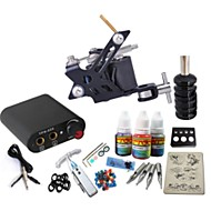 Tattoo Machine Starter Kit - 1 pcs Tattoo Machines with 1 x 20 ml tattoo inks Mini power supply Case Not Included 1 steel machine liner & shader