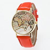 abordables Relojes de Moda-Mujer Reloj de Pulsera Cuarzo PU Banda Analógico Vintage Moda Mapa del Mundo Negro / Azul / Rojo - Azul Rosa Caqui Un año Vida de la Batería / Jinli 377