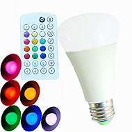 E26/E27 LED gömbbúrás izzók A60(A19) 3 led Nagyteljesítményű LED Tompítható Hang-aktiválás Távvezérlésű Dekoratív RGB 550lm RGBK AC