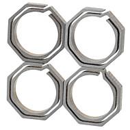 preiswerte -Fura oktogonalen Titan-Legierung Schlüsselring - Champagner + grau (klein / 4 St.)