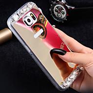 Кейс для Назначение SSamsung Galaxy Кейс для  Samsung Galaxy Стразы Зеркальная поверхность Задняя крышка Сияние и блеск TPU для S7 edge