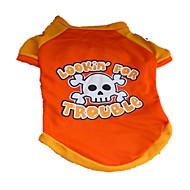 Hunde T-shirt Orange Hundekleidung Sommer Totenkopf Motiv