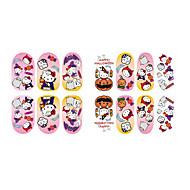 abordables Maquillaje y manicura-de dibujos animados de halloween de fluorescencia gatito de la joyería del clavo