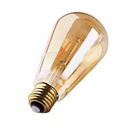 3W E26/E27 LED-hehkulamput ST64 2 ledit COB Koristeltu Lämmin valkoinen 180lm 2200K AC 220-240V