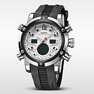 Недорогие Фирменные часы-WEIDE Муж. Наручные часы Будильник / Календарь / Секундомер Pезина Группа Роскошь Черный / Нержавеющая сталь / Защита от влаги / ЖК экран / С двумя часовыми поясами / Два года