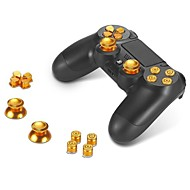 Metal Buttons ABXY Buttons + Thumbsticks Thumb Grip and Chrome D-pad for Sony PS4 DualShock 4 Controller Mod Kit