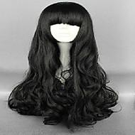 halpa -Synteettiset peruukit Löysät aaltoilevat Otsatukalla Tiheys Naisten Musta Carnival Peruukki Halloween Peruukki Costume Wig Pitkä