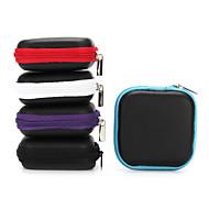 イヤホンイヤフォン6.5 * 6.5 * 2センチメートル黒紫、青、赤、グレーのために1個のミニジッパーハードヘッドホンケースPUレザーイヤホンバッグ